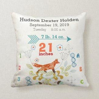 Boy Nursery Baby Birth Stat Fox Arrow Pattern Pillows