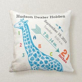 Boy Nursery Baby Birth Stat Giraffe Arrow Pattern Throw Pillow