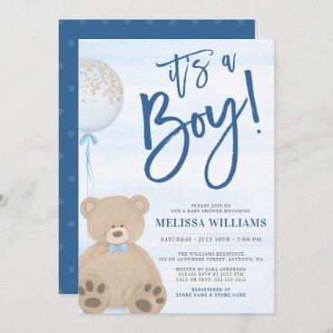 Boy Teddy Bear Blue Balloon Baby Shower Invitation