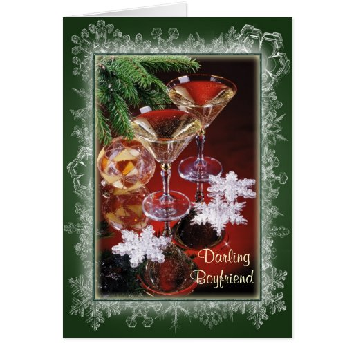Boyfriend Romantic Christmas CardGlasses Of Wine Card