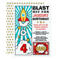 Boy's Birthday Party Rocket Space Ship Blast Off Card