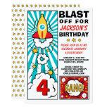 Cool Blast Off Rocket Birthday Party Invitation