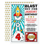 Cool Blast Off Rocket Birthday Party Invitation