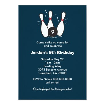 Boy's Bowling Birthday Party Card