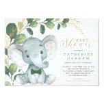 Boys Elephant Greenery Gold Garden Baby Shower Invitation