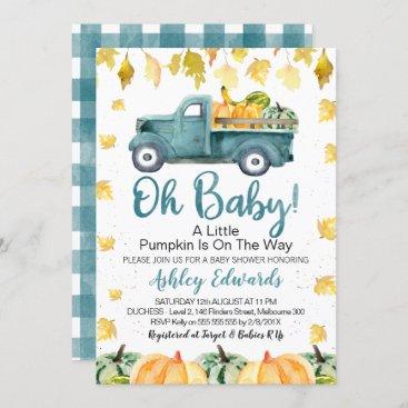 Boy's Little Pumpkin Baby Shower Invitation