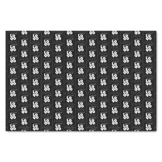 Branded Gift Wrap Custom White Logo on Black Tissue Paper
