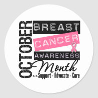 Breast Cancer AWARENESS Month Classic Round Sticker