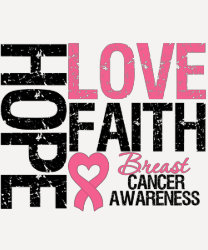 Breast Cancer Hope Love Faith T-shirt