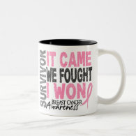 Breast Cancer Survivor It Came We Fought I Won Two-Tone Coffee Mug