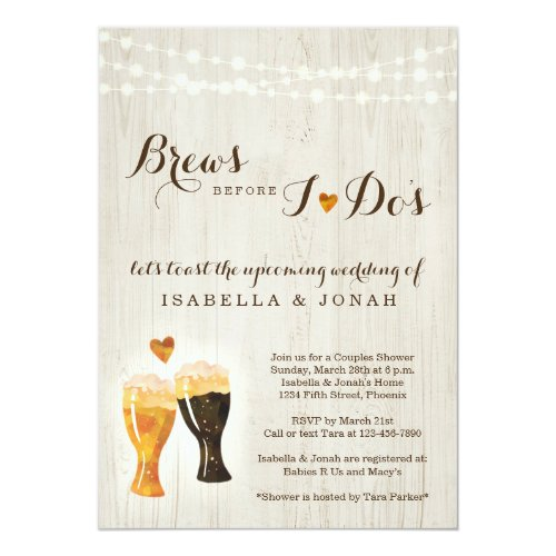 Brews Before I do&#39&#x3B;s Beer Brewery Couple Shower Invitation