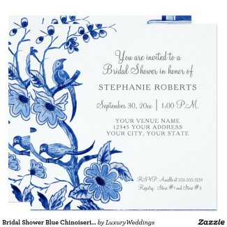 Bridal Shower Blue Chinoiserie Floral Watercolor Card