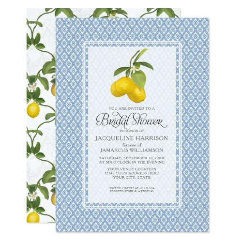 Bridal Shower Citrus Garden Lemon Trellis Pattern Invitation