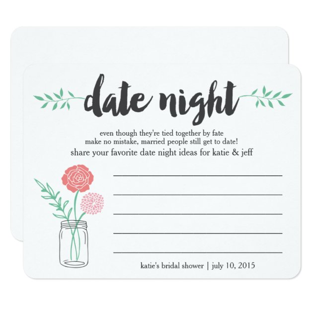 Bridal Shower Date Night Idea Card