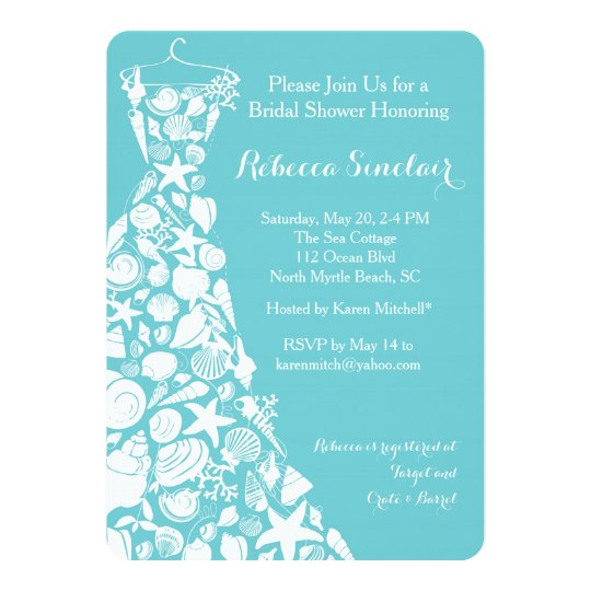 Bridal Shower Invitation Beach Sea S Dress Card
