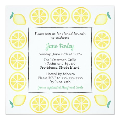 Bridal Shower Invitation w/ Green Accent
