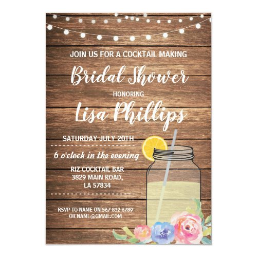 Bridal Shower Party Invite Jar Cocktail Making