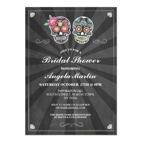Bridal Shower Party Sugar Skull Halloween Invite