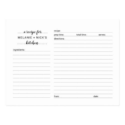 Bridal Shower recipe card, simple white game Postcard