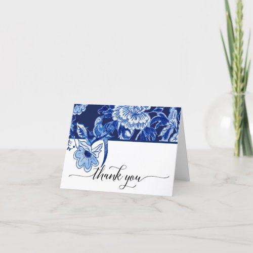 Bridal Thank You Note Navy Bird Floral Chinoiserie