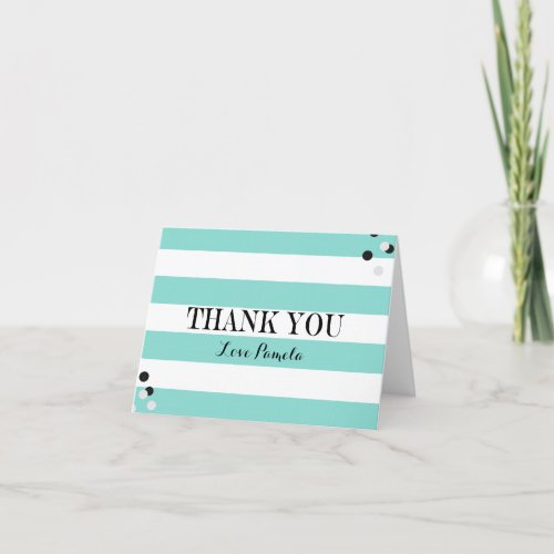 BRIDE &amp&#x3B; CO Teal Blue &amp&#x3B; White Shower Tiffany Party Thank You Card
