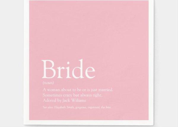 Bride Definition, Bridal Shower Fun Girly Pink Napkins ...