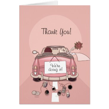 Bride & Groom Pink Getaway Car - Thank You Cards