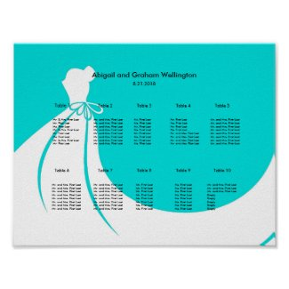 Bride's Dress Seating Chart Poster