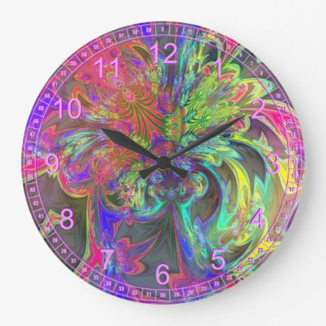 Bright Burst of Color – Salmon & Indigo Deva Large Clock