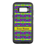 Bright colorful yellow purple curls pattern OtterBox defender samsung galaxy s8+ case