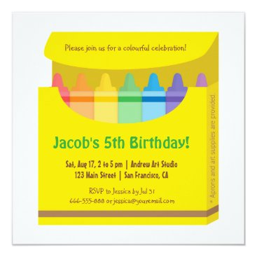 Bright Colourful Crayons Arts Kids Birthday Party Invitation