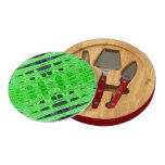 Bright green black pattern round cheeseboard