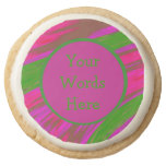Bright Green Pink Color Swish Abstract Round Shortbread Cookie