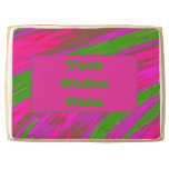 Bright Green Pink Color Swish Abstract Shortbread Cookie