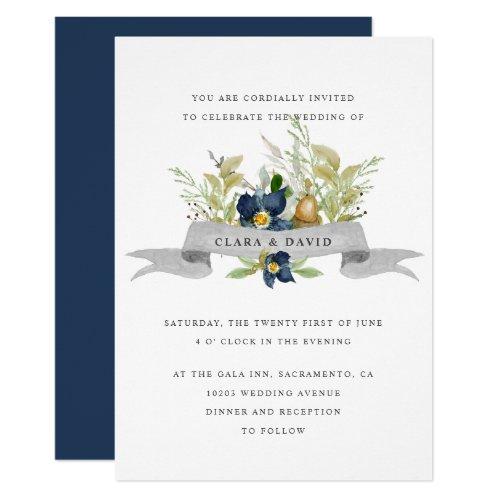 Bright Oak   Blue   Rustic watercolor wedding Invitation