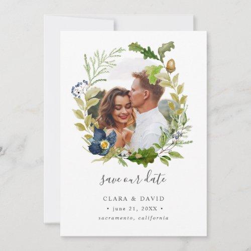 Bright Oak frame Photo wedding save the date