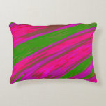 Bright Pink and Green Color Swish Abstract Accent Pillow