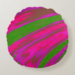 Bright Pink and Green Color Swish Abstract Round Pillow