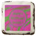 Bright Pink Green Color Swish Abstract Chocolate Brownie