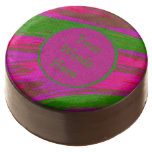 Bright Pink Green Color Swish Abstract Chocolate Covered Oreo