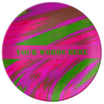 Bright Pink Green Color Swish Abstract Dinner Plate