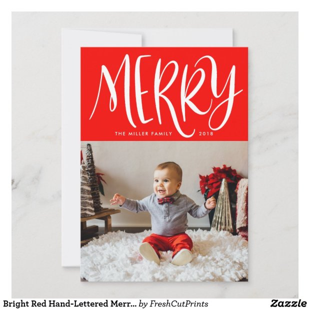 Bright Red Hand-Lettered Merry with Single Photo Holiday Card