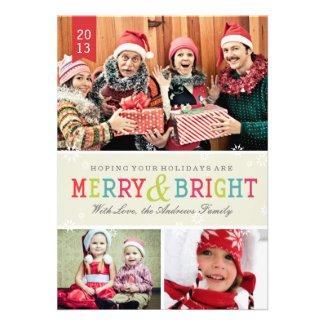 Bright Snowflakes Holiday Photo Card