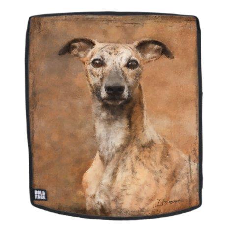 Brindle Whippet Dog Backpack