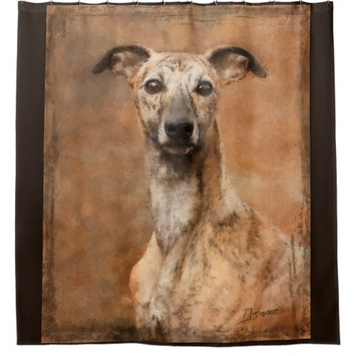 Brindle Whippet Dog Shower Curtain