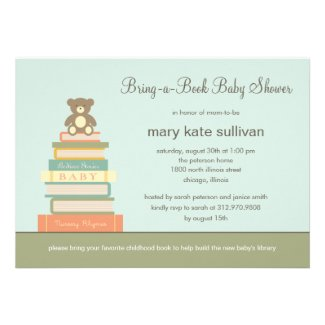 Bring A Book Baby Shower Invitation (Blue)