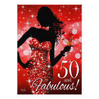 Bring the Bling Sparkle 50th Birthday | red Custom Invitation