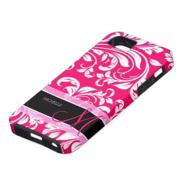 Broadway Pink and white floral damask w/ monogram iPhone SE/5/5s Case
