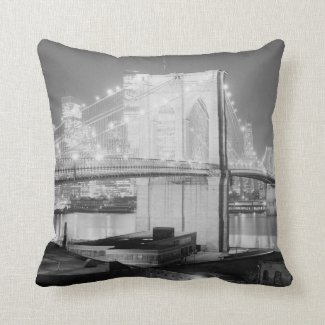Brooklyn Bridge Black & White Pillow