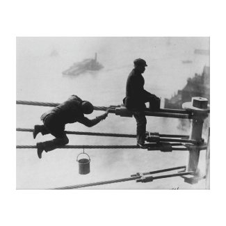 Brooklyn Bridge Painters Vintage Photograph (1915) Canvas Print